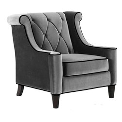 Modern Grey Velvet Chair -