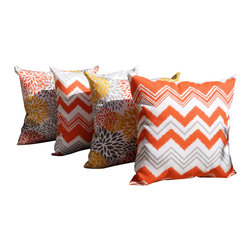 Land of Pillows - Zazzle Orange Chevron and Blooms Citrus Yellow Outdoor Throw Pillow - Set of 4 - Give your sofa, day bed, or patio lounge a boost of blooming color with these yellow and orange throw pillows. This set of four stylish pillows includes two with a chic chevron design, and two with a lovely bright floral pattern. Crafted from high quality fabric that is stain, water and fade resistant, these square pillows work great indoors or out!