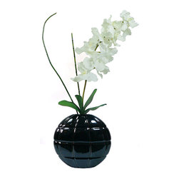Vintage - Laura Ashley Real Touch White Vanda Orchid - This white Vanda orchid from Laura Ashley is an ideal accent piece for any room in your home. The flower is constructed of durable polyester that does not require maintenance,and the black container has a contemporary design that grabs attention.