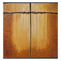 Enchantment Viii---Diptych, Original, Painting - Highly textured impasto minimalistic oil on canvas rendered in warm earth-tone palette. diptych.