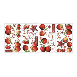 RoomMates - Country Apples Peel & Stick Wall Decals - Dress up any kitchen with this set of lush peel & stick apples. These brightly colored wall decals are an easy way to add instant decor to any smooth surface--walls, cabinets, tile, even accessories. We've even thrown in some classic country stars and berry vines to match your existing decor. These stickers are the perfect choice to add life to any country-themed kitchen! For coordinating decor options, be sure to check out the rest of our country-themed stickers.