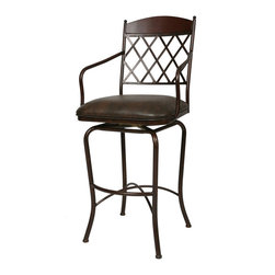 """Pastel - Napa Ridge Swivel Barstool NR-219 - Coffee - 34"""" - The Napa Ridge 34"""" barstool with arms is beautifully made with classic design elements that will add that touch of style to any room. This swivel 34"""" barstool features a quality metal frame with sturdy legs and foot rest finished in Autumn Rust with Walnut wood slat. The padded seat is upholstered in Florentine Coffee offering comfort and style. Also available in 26"""" counter or 30"""" bar height."""