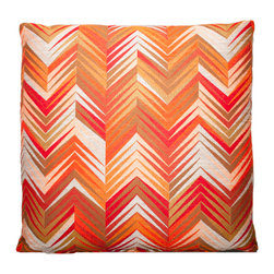 Designer Fluff - Red Flame Pillow, 20x20 - Now that's hot! A sharp chevron print in fiery shades will add a whole lot of oomph to your sofa. The pattern is printed on both sides, with the pattern expertly matched at the neat knife-seam edges.