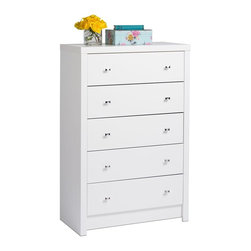Prepac - Drawer Chest - Finished in durable pure white laminate. The 5 drawers feature diamond cut chrome metal knobs. Drawers run smoothly on metal glides with built-in safety stops. Constructed from CARB-compliant composite wood. 5-year manufacturer's limited parts warranty. Ships Ready to Assemble, includes an instruction booklet for easy assembly. 30.25 in. W x 15.25 in. D x 45.75 in. H Inspired by chic cosmopolitan design, the Calla Collection blends modern lines and elegant details. The Five Drawer Chest is finished in pure white laminate and features diamond cut chrome knobs. Not content to get by on looks alone, this chest offers five sizeable drawers that provide ample storage space for your clothing.