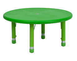 Flash Furniture - Flash Furniture 33 Inch Round Height Adjustable Green Plastic Activity Table - Kids activity tables are excellent for early childhood development. The primary colors make learning and play time exciting when several colors are arranged in the classroom. This durable table features a plastic top with steel welding underneath along with adjustable steel legs that is sure to last throughout the years. [YU-YCX-007-2-ROUND-TBL-GREEN-GG]