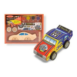 Melissa And Doug - Melissa & Doug Decorate-Your-Own Wooden Race Car - This wooden race car is ready to be customized. The convenient tray contains everything needed to get this car to the starting gate: wooden axles and wheels, paints and brush, stickers and craft glue.
