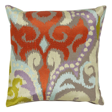 Poppy Red Embroidered Ikat Cotton Pillow - Gray cotton pillow with an embroidered ikat design of poppy red, light green, light blue, and purple. This beautiful pillow will make the perfect accent on a couch, chair, window seat or bed. It would also make a perfect housewarming gift too!