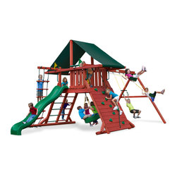 Gorilla Playsets - Sun Climber Swing Set With Sunbrella Canvas Forest Green, I - The Sun Climber I Swing Set with Sunbrella Canvas Forest Green Canopy by Gorilla Playsets will keep the family playing all year long! This swing set was designed to keep kids busy with a rock wall and a rope ladder, all while building strength and coordination. The play deck is protected with an authentic Sunbrella canopy. This premium cedar wood playset is pre-cut, pre-sanded, pre-stained and ready to assemble in your backyard over the weekend. The entire playset is finished in a beautiful redwood stain.  Gorilla Playsets' cedar naturally resists rot, decay, and insect damage.