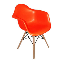 2 Eiffel Wood Arm Chair, Orange - Bring a relaxed sense of style to your favorite living spaces with these eiffel armchairs. The retro simplicity of these classic white eiffel base accent chairs will instantly enhance the modernity of your room. Each of these contemporary chairs is made from durable molded plastic with an ergonomically-shaped and curved seat. The legs are wooden and include eiffel shape steel hardware in black as well as black plastic tips to protect sensitive flooring.