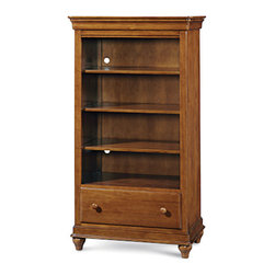 Universal - Smart Stuff - Classics 4.0 Saddle Brown Three Shelf Bookcase - Display art work, trophies, and keepsakes on this beautiful 3-shelf children's bookcase by Universal Furniture. Soaked in the rich Saddle Brown finish and adorned with subtle molding detail, this piece has a simple style that matches a variety of youth bedroom furniture. A lower storage drawer makes it easy to stow quilts or stuffed animals, and the easy cord access is perfect for plugging in their favorite lamp. Keep your child, and their room, in style with this wonderful children's bookcase.
