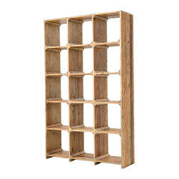 """Rustic Reclaimed Wood Open Bookcase - Drawing inspiration from early French and American architecture, the Rustic Reclaimed Solid Wood Open Bookcase combines modern functionality with woods reclaimed from old buildings for a """"found"""" appeal that is as striking as it is livable. Add style to your home office, living room or entryway."""