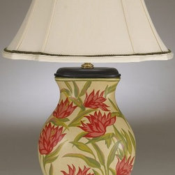 Bird of Paradise Table Lamp - The Bird of Paradise lamp is covered with beautiful hand-painted Bird of Paradise flowers.  It's topped off with an elegant laurel wreath finial.  This is really one of the prettiest lamps for the traditional home.