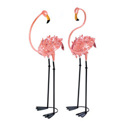 KOOLEKOO - Flamboyant Flamingo Garden Stakes - Brighten your favorite space with a luscious touch of the tropics. These life-sized metal flamingo sculptures make a colorful splash that's a pure delight. Your friends will turn pink with envy!