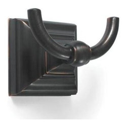 Amerock - Markham Robe Hook Rack in Oil-Rubbed Bronze Finish - Includes mounting template and mounting hardware. 1 x M5 x 0.8 9 mm Phillips head, 1 x M4 x 0.7 10 mm set screw and 1 wall mounting plate. Heavy-gauge stainless steel construction. 1-Year warranty. 3.25 in. L x 2 in. W x 2 in. H (0.5 lbs.)Traditional design aesthetics punctuate the Markham™ collection which provides crisp, linear definition to the bath or powder room. Square footing at the base is inspired by the architectural details of columns, pilasters and stately slim bars. Complements a variety of Amerock® cabinet hardware, suggested coordination to the Amerock® Manor collections.