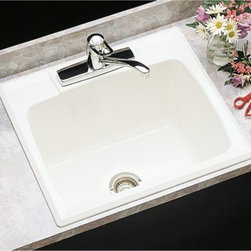 Mustee - Mustee Durastone 10C Single Basin Drop In Utility Sink - 10C - Shop for Commercial Laundry and Utility from Hayneedle.com! Sure to be your go-to sink the Mustee Durastone 10C Single Basin Drop In Utility Sink is versatile and adaptable whether you're cleaning paintbrushes rinsing your kids' muddy shoes or just trying to give the cat a bath (probably not your best bet). This rugged color-fast sink is offered in your choice of colors each one crafted from fiberglass and special resins inside a metal mold that creates the 17-gallon body. The wide 3-1/2-inch reinforced drain opening is perfect for those bigger dirtier jobs and it connects easily to a standard 1-1/2-inch P- or S-trap for easy installation. Find the faucet that's just right for your needs and you're set to keep your home clean and ready for any messyy projects that may pop up.About E.L. Mustee & SonsSide-arm water heaters hot plates and incinerators were all the rage when Emil Lawrence founded his innovative company back in 1932 and today E.L. Mustee & Sons keep that spirit of customer-satisfying innovation alive with their full line of products that stress functionality durability and dependability. The full line of E.L. Mustee & Sons products include DURAWALL shower and bathtub walls DURASTALL shower stalls TOPAZ bathtubs DURABASE shower floors STYLEMATE shower enclosures UTILATUB and UTILATWIN laundry tubs DURATUB laundry cabinets VECTOR and DURASTONE utility sinks DURASTONE mop service basins DURAPAN washer and water heater pans; and CareGiver easy-access showers safety grab bars and fold-down shower seats. The team at E.L. Mustee & Sons goes to great lengths to make sure that each product that leaves their U.S.-based production facility is the kind of long-lasting product that you'll use often.