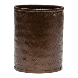 """Pigeon & Poodle - Pigeon & Poodle Lugo Bronze Round Wastebasket - A lacquered finish updates the Pigeon & Poodle Lugo round wastebasket with modern character. Featuring a woven chevron pattern, this bamboo accessory allures in a bronze hue. 9""""Dia x 11""""H; Reflecting a handmade artistry, slight variations may occur"""