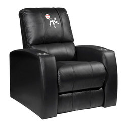 Dreamseat Inc. - Baseball Pitcher Home Theater Leather Recliner - Check out this Awesome Leather Recliner. Quite simply, it's one of the coolest things we've ever seen. This is unbelievably comfortable - once you're in it, you won't want to get up. Features a zip-in-zip-out logo panel embroidered with 70,000 stitches. Converts from a solid color to custom-logo furniture in seconds - perfect for a shared or multi-purpose room. Root for several teams? Simply swap the panels out when the seasons change. This is a true statement piece that is perfect for your Man Cave, Game Room, basement or garage. It combines contemporary design with the ultimate comfort from a fully reclining frame with lumbar and full leg support.