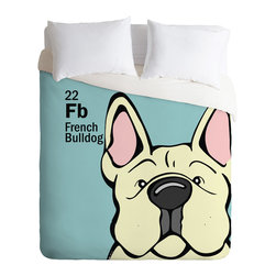 DENY Designs - Angry Squirrel Studio French Bulldog 22 Duvet Cover - Turn your basic, boring down comforter into the super stylish focal point of your bedroom. Our Luxe Duvet is made from a heavy-weight luxurious woven polyester with a 50% cotton/50% polyester cream bottom. It also includes a hidden zipper with interior corner ties to secure your comforter. it's comfy, fade-resistant, and custom printed for each and every customer.