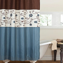Lush Décor - Royal Garden Blue Shower Curtain - The embroidered flowers of this lovely shower curtain bloom right off its faux silk surface. The extra texture will grow a new sense of regal refreshment for your bathroom.   100% polyester Dry clean Imported