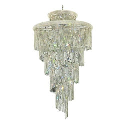 "PWG Lighting / Lighting By Pecaso - Adrienne 41-Light 48"" Crystal Chandelier 1530SR48C-RC - Offering elegant and timeless sophistication, the Adrienne Collection features stunning and exquisitely designed Crystal Chandeliers. Placing the large pieces in a multi-storied foyer and seen from below or outside creates an utterly, dazzling speckle of light."