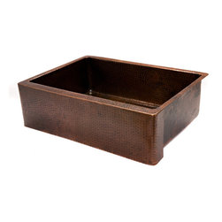 "Premier Copper Products - Premier Copper Products 30"" Copper Hammered Kitchen Apron Single Basin Sink - Uncompromising quality, beauty, and functionality make up this Premier 30"" Copper Hammered Kitchen Apron Single Basin Sink. Each Premier Copper Sink is optimized to give you maximum usable sink area in a 30"" base cabinet."