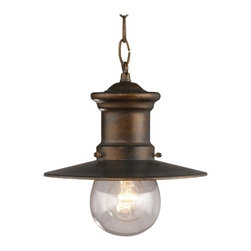 """Elk - Maritime Collection 10"""" High Hanging Outdoor Light - This designer light fixture is a contemporary take on the antique-style seaside motif. The classic hazelnut bronze finish is complemented by a clear very lightly seeded blown-glass. The combination of all these style elements makes this a visually-appealing outdoor or indoor hanging light. Hazelnut bronze finish. Clear lightly seeded blown-glass. Nautical design. Takes one 60 watt medium bulb (not included). 9"""" wide. 10"""" high.  Hazelnut bronze finish.   Clear lightly seeded blown-glass.   Takes one 60 watt medium bulb (not included).  9"""" wide.   10"""" high."""