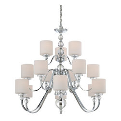 Quoizel - Quoizel Downtown Contemporary / Modern Modern/ Contemporary Chandelier - Cool, sleek sophistication is written all over this design. Gleaming glass ball accents complement the opal etched glass drum shade and shiny chrome finish, bringing a soft modern sensibility to your home.