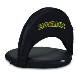 Picnic Time - Baylor University Oniva Seat Recreational Reclining Seat Black - When you need a recreational reclining seat that's lightweight and portable, the Oniva Seat is for you. It has an adjustable shoulder strap and six adjustable positions for reclining. The seat cover is made of polyester, the frame is steel, and the seat is cushioned with high-density PU foam, which provides hours of comfortable sitting. The bottom of the seat is black so as not to soil easily. The Oniva Seat is great for the beach, the park, gaming and boating.; College Name: Baylor University; Mascot: Bears; Decoration: Digital Print