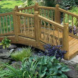 "Fifthroom - Treated Pine Lakeside Spindle Rail Bridge - The Spindle Bridge is Grace and elegance forged into breathtaking bridge beauty. All Bridges are crafted with Stainless Steel Screws, 2""x6"" Decking for walkways, Galvanized bolts for all posts, and Sanded for a smooth finish."