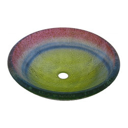 Novatto - ARCOBALENO Rainbow Colored Round Glazed Glass Vessel Sink with Textured Exterior - Arcobaleno is a round single layer vessel constructed of high tempered glass in a textured twisted rainbow swirl of colors. Novatto uses advanced technology, including computerized glass processing, to produce unique glass basins with unmatched structural integrity and longevity. Internal testing has found these glass vessels to be very durable and forgiving. Items such as toothbrushes or small jewelry should not scratch the surface. For best cleaning results, a soft cloth with mild soap and water or a non-abrasive glass cleaner is recommended. Made with the highest standards of quality and creative design, Novatto sinks add art and function to any bath or powder room.