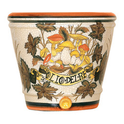 Welcome Home Accents - Decorative Tuscan Inspired Planter - Olio De Re-Oil of the King. Return to the Italian countryside with the artistry of hand painted porcelain with a crackle finish. Use this planter for your greenery or to display your other collectibles. Soft browns, oranges and greens