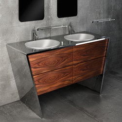 Componendo - Componendo | Quattordici Double Vanity - Made in Italy by Componendo.A part of the Quattordici Collection. The Quattordici Double Vanity with Vessel Sink instantly adds organic yet eccentric style to the everyday washroom. This double vanity integrates a high quality and non-corrosive stainless steel countertop enveloping four deep drawers for optimal storage of all your bath supplies. The glossy or brushed smudge-proof surface finishing keeps fingerprints out of sight for a consistently clean and shiny aesthetic. Select from a variety of sink options and drawer finishes to create your ideal luxury vanity. Product Features: