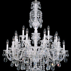 Schonbek - Sterling Silver 20-Light Clear Heritage Handcut Crystal  Chandelier, 34W x 43H x - -Heritage Handcut Crystal: This crystal is cut by hand in two stages on an iron and then a sandstone wheel. Each crystal is then polished on a wood wheel with marble dust. The most authentic handcrafted crystal in the world.  - Sterling exemplifies the eighteenth century style all-crystal chandelier, with hand-formed crystal arms and elaborately cut crystal pendants, column pieces and dishes. Sterling can be a modest investment or an extravagance, depending on your choice of crystal type. Also Made with Swarovski Elements.  -Clear Heritage Handcut  - Wire Length (in inches): 146  - Light Source: Incandescent Bulb  - Bulbs not included  - Chain Length (in inches): 126  - Uses standard line volt dimmer  - Some assembly required  - For shipping outside of USA, please contact Bellacor customer service  - Cleaning and Care Instructions: Every Schonbek product is of heirloom quality and will last for generations. To ensure it retains its brilliance and splendor for years to come, proper care and regular cleaning are necessary. It is recommended that Schonbek products, and particularly their crystal trim, be lightly dusted with a feather or lambswool duster, or soft brush every two months, or whenever it appears dull or dusty. Consult the fixtures trim diagram for detailed cleaning instructions list of approved cleaning solutions. Schonbeck fixtures should never be subjected to any chemical cleaning agents. - See packaging insert for warranty information. Schonbek  - 2998-40H