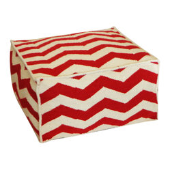 JITI - Peak Red Ottoman - Here's a stylish and versatile piece of accent furniture for your living room or den. This lively wool ottoman with red zigzag print makes a comfy seat or footrest and a convenient impromptu coffee table.