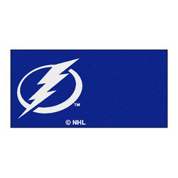 Fan Mats - NHL Tampa Bay Lightning Team Carpet Tiles Square: 1 Ft. 5 In. x 1 Ft. 5 In. - - Officially licensed modular carpet flooring. Ideal for sports themed rooms or gyms. 20 tiles, 10 logo tiles and 10 solid tiles. Covers 45 sqft. Made in U.S.A. Man-made fiber carpet face and vinyl backing. Easy installation. No under padding required. Fan Mats - 10689