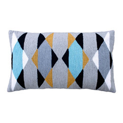 Leah Singh - Scarpa 80's Pillow - Hand-embroidered by women artisans in north India, these pillows add color, texture and bold patterns to your home.