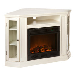 Holly & Martin - Pomona Convertible Media Electric Fireplace, Ivory - For the entertainment enthusiasts, this ivory fireplace accommodates wonderfully. Triangular media storage shelves on either side of the firebox provide plenty of space for your favorite media selections and are enclosed by glass doors. An additional media equipment shelf rests above the firebox and is complete with convenient back wall cord access. This particular fireplace mantel is also designed with a collapsible panel, allowing for versatile placement against a flat wall or corner in your home. Requiring no electrician or contractor for installation allows instant remodeling without the usual mess or expense. In addition to your living room or bedroom, try moving this fireplace to your dining room for a romantic dinner or complement your media room with a vent less fireplace below your flat screen television. Use this functional fireplace to make your home a more welcoming environment.