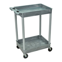 "Luxor - Luxor Tub Cart - STC11-G - These Luxor STC series utility carts are made of high density polyethylene structural foam molded plastic shelves and legs that won't stain, scratch, dent or rust. Features a retaining lip around the back and sides of flat shelves. Includes four heavy duty 4"" casters, two with brake. Has a push handle molded into the top shelf."