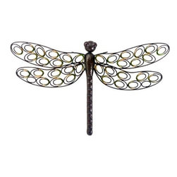 "Gardman USA - Dragonfly Wall Art - Dragonfly Wall Art - Measures: 26.5"" long x 16.25"" wide.  Antique look brown and black mottled finish.   Hang on any flat vertical surface.   Position him flying any direction you like.    May be hung indoors or out.  This item cannot be shipped to APO/FPO addresses. Please accept our apologies."