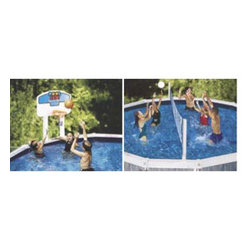 Heritage - Pool Jam Combo - Aboveground pool game. High-End Volleyball and Basketball combo game. Complete 2 game set includes real feel game balls.