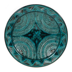 "Ceramic (Wood-fired) - Teal Carved Decorative Plate - Teal Carved 14"" Decorative Plate"