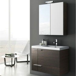 ACF - 31 Inch Bathroom Vanity Set - Set Includes: . Vanity Cabinet (2 doors, 1 drawer). Fitted ceramic sink (31.5 inch x 18 inch ). Medicine Cabinet (W 27.6 inch x H 30.3 inch ). Vanity light. Vanity Set Features:. Vanity cabinet made of engineered wood. Cabinet features waterproof panels. Available in Wenge, Grey Oak Senlis, Larch Canapa, Glossy White. Cabinet features 2 doors, 1 soft-closing drawer. Faucet not included. Perfect for modern bathrooms. Made and designed in Italy. Includes manufacturer 5 year warranty.
