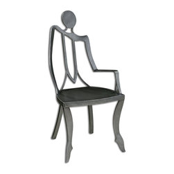 Carolyn Kinder - Carolyn Kinder Lena Left Accent Chair X-30442 - This top grade, polished raw steel chair takes a whimsical turn blending sculptural artistry with modern industrial materials.