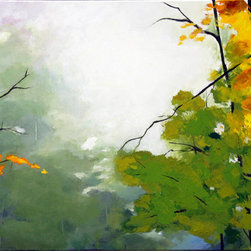 """Mist Ii"" (36""X 24"") Original Abstract Trees Painting Fall - This is an original painting on stretched canvas 24in x 36in, signed and dated by the artist."