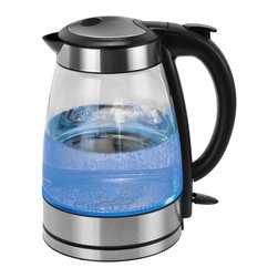 Kalorik - Kalorik Clear Glass Water Kettle - A watched pot never boils, but this high-tech kettle gets your water ready for coffee, tea, pasta in mere minutes. This cordless unit is all about safety, savings and convenience — and the sleek design looks cool in your kitchen.