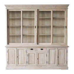 Cranberry Cabinet - Urban Home Cranberry Cabinet. Made Exclusively for Urban Home of reclaimed elm wood. The base has with 6 doors, 2 drawers and adjustable shelving. The hutch features a pair of sliding glass doors on each side and four shelves throughout.