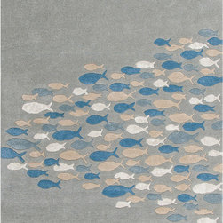 Unknown - Hand-tufted Transitional Animal Print Pattern Blue Rug (8' x 11') - Bring the beach into your home with this rug. Taking inspiration from the casual style synonymous with popular lifestyle,this thoughtful rug embodies the warmth and colorful surroundings of the coast. wool is artfully hand-tufted into a thoughtful