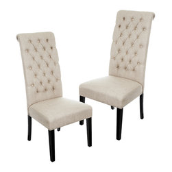 Great Deal Furniture - Charley Tall Dark Beige Tufted Dining Chairs (Set of 2) - With its elegant tufted tall back and slightly rolled top, they Charley dining chairs will serve as the stars of your dining room. You can also use them in other parts of the house for impressive additional seating. Neutral in color, you will find yourself wanting to have the Charley chairs all around your house.