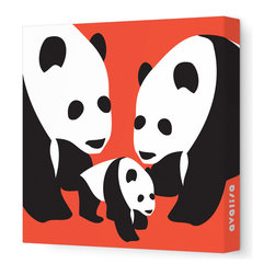"Avalisa - Animal - Three Pandas Stretched Wall Art, 18"" x 18"", Red - The three bears were never like this — but then, you're no Goldilocks! This charming trio will bring clever, cool, not-too-cute appeal to any setting."