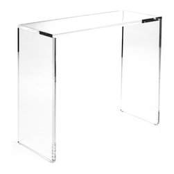 Kathy Kuo Home - Clery Clear Acrylic Small Console - This is the smaller, streamlined sibling to the large Clery console table.  This clear acrylic table allows you to create a breezy, luxe look in your Hollywood regency living space or modern loft. Because of its open, airy feel, this console can either become the focus or the backdrop of any room.